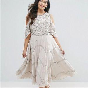 Asos embellished cold shoulder dress